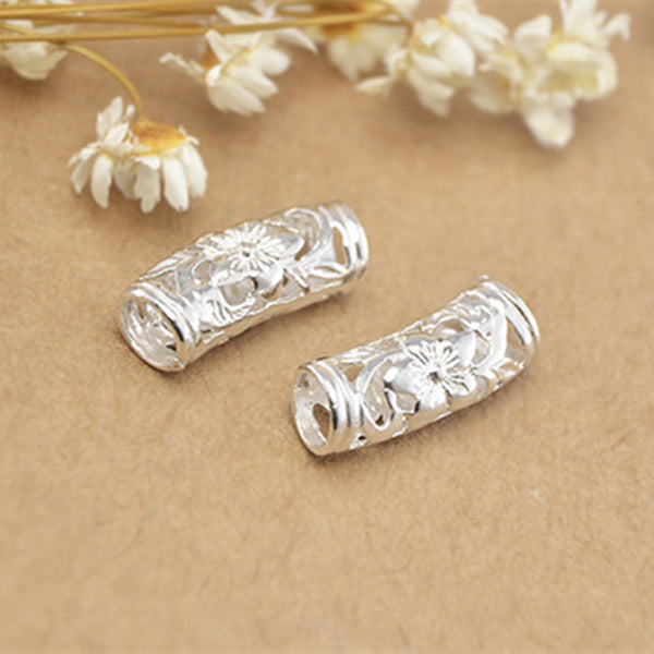 5pcs 925 Sterling Silver Openwork Curved Tube Beads 6mm*17mm (T012S)