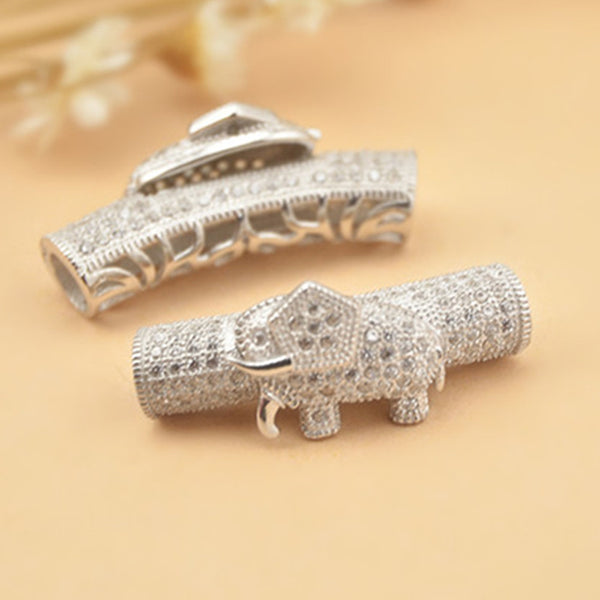 1pc 925 Silver Long Curved Tube Bead Elephant Shape 6mm*26mm (T034S)