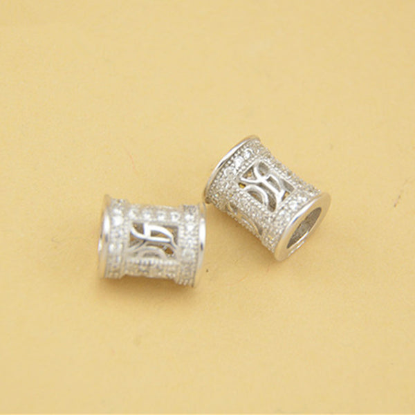 2pcs 925 Sterling Silver Openwork Straight Tube Beads 7mm*8.5mm (T045S)