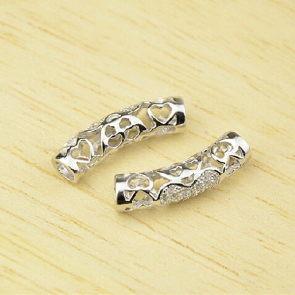 2pcs 925 Sterling Silver Openwork Curved Tube Beads 5mm*19mm (T096S)