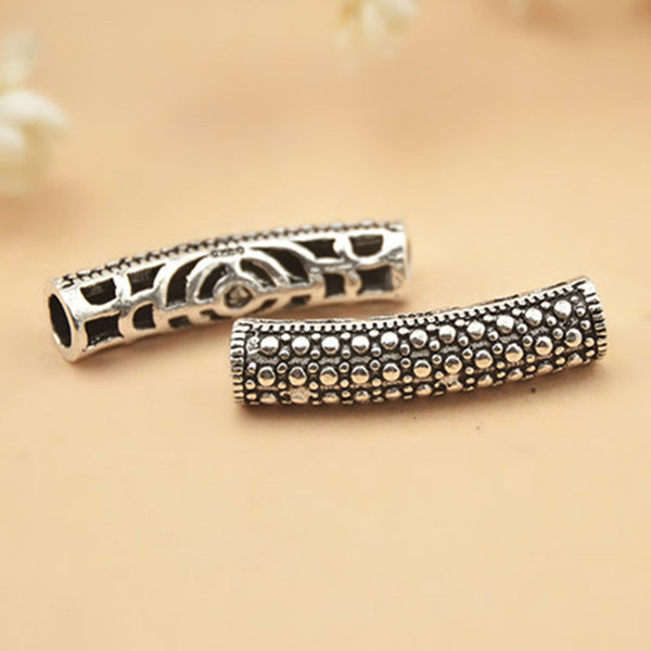 2pcs Thai Sterling Silver Long Curved Tube Beads 5mm*22.5mm (T143T)