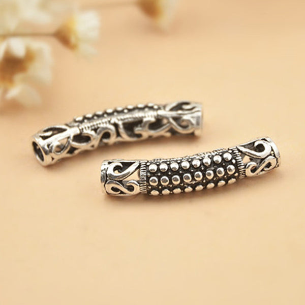 2pcs Thai Sterling Silver Long Curved Tube Beads 4.5mm*24mm (T152T)