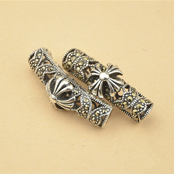 1pc Thai Sterling Silver Long Curved Tube Bead 6mm*26.5mm (T161T)