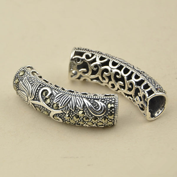 1pc Thai Sterling Silver Long Curved Tube Bead 9mm*31.4mm (T173T)