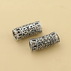 2pcs Thai Sterling Silver Long Curved Tube Beads 5.6mm*13.8mm (T196T)