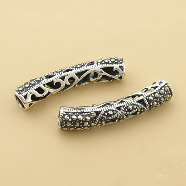 1pc Thai Sterling Silver Long Curved Tube Bead 5mm*25.2mm (T199T)