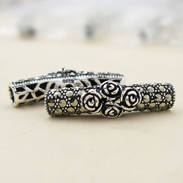 1pc Thai Sterling Silver Long Curved Tube Bead 4.9mm*24mm (T218T)