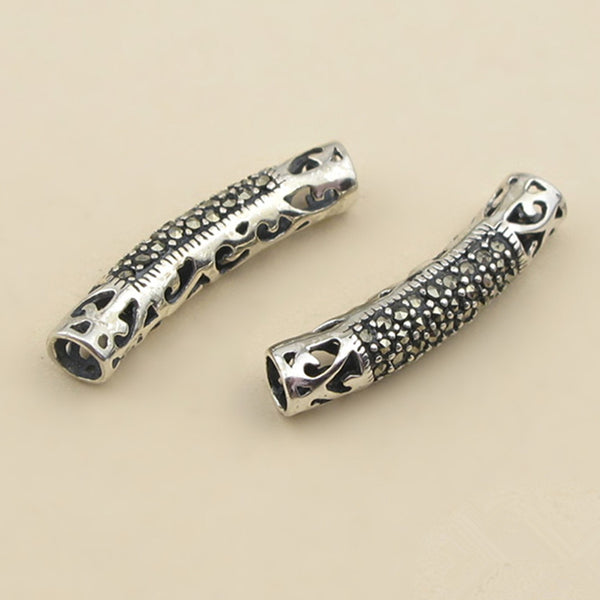 1pc Thai Sterling Silver Long Curved Tube Bead 5mm*24.7mm (T228T)