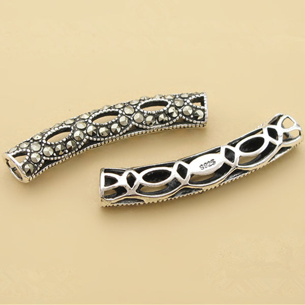 1pc Thai Sterling Silver Long Curved Tube Bead 5.6mm*30.4mm (T237T)