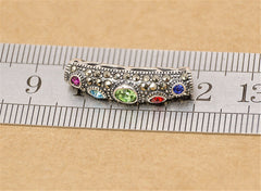 1pc Thai Sterling Silver Long Curved Tube Bead 5mm*24mm (T263T)