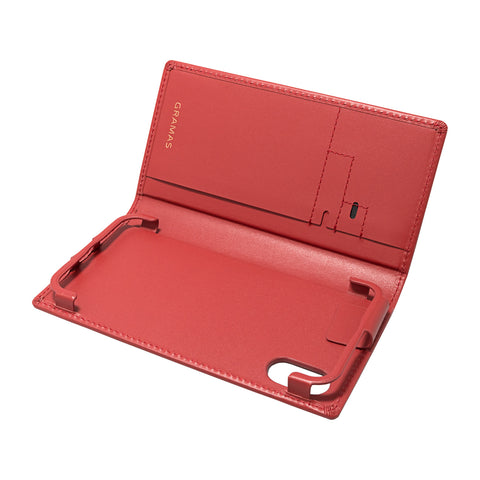 GRAMAS×Gadget mart 限定モデル Full Leather Case Red for iPhone XS / X SIMポケット付き