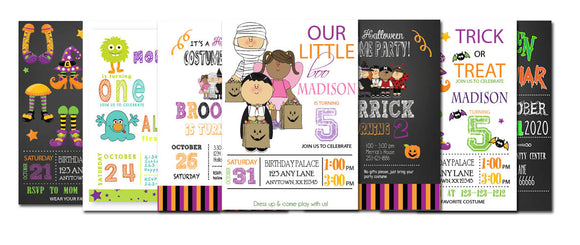 Halloween personalized birthday invitations
