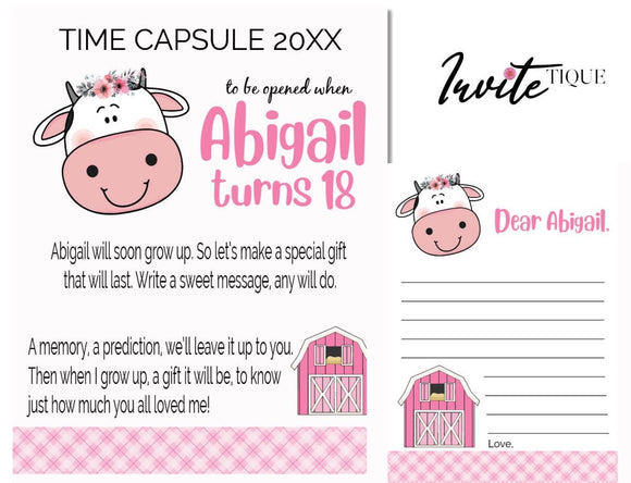 cow baby shower time capsule