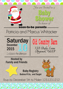 Santa and Rudolf Baby Shower Christmas Invites - Invitetique