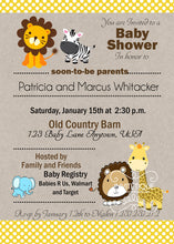 Jungle Baby Animals Yellow Baby Shower Invitations