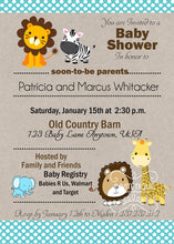 Jungle Baby Animals blue Baby Shower Invitations