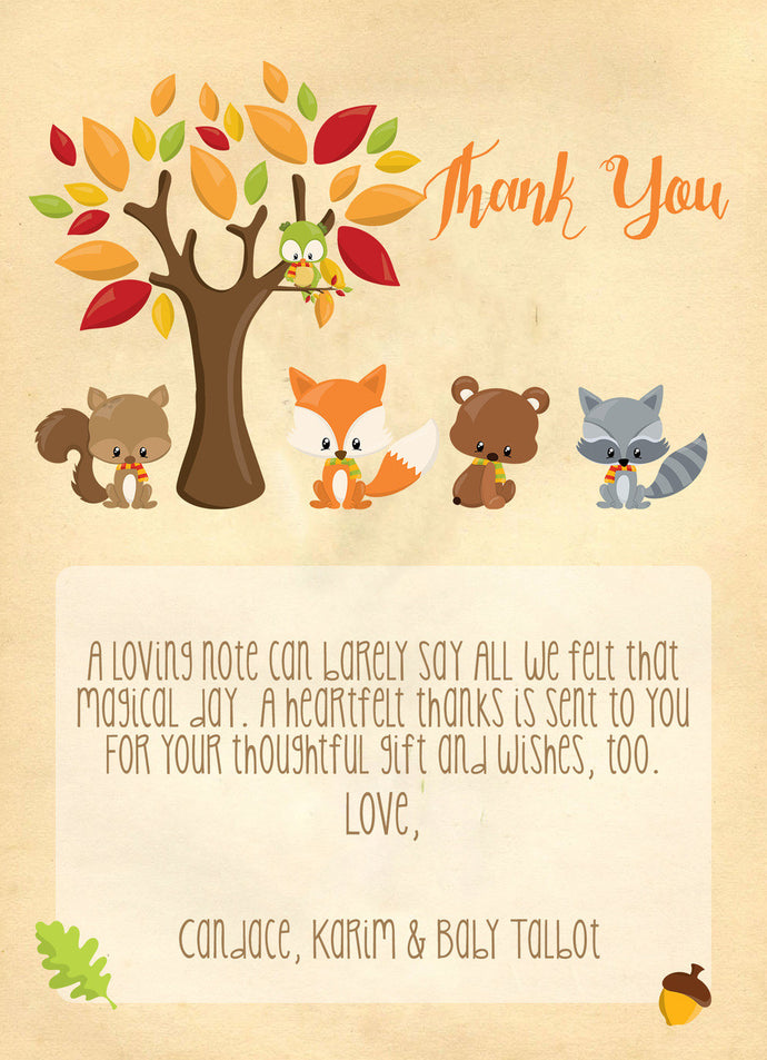 Sweet Woodland Personalized Thank you notes