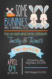 Twin Bunny Birthday Party Invitation - Invitetique