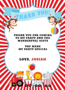 Carnival Theme Thank You Notes - Invitetique