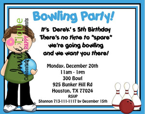 Bowling girl or boy Birthday Invitations - Invitetique