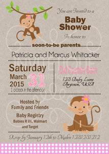 Jungle Monkey Girl Baby Shower Invitation - Invitetique