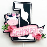 Cow themed smash cake topper