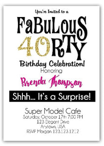 40th and Fabulous Birthday Invitation - Invitetique