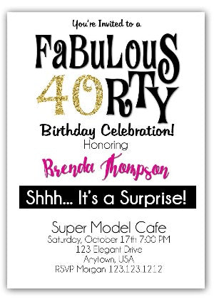 40th and Fabulous Birthday Invitation