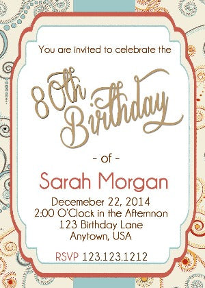 80th Birthday Invitation - Birthday Invitation
