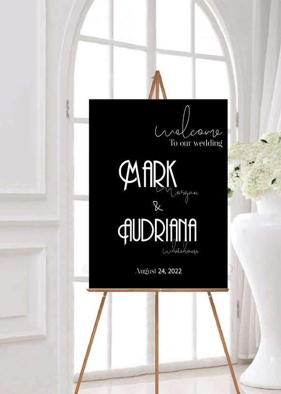 Art Deco wedding welcome poster