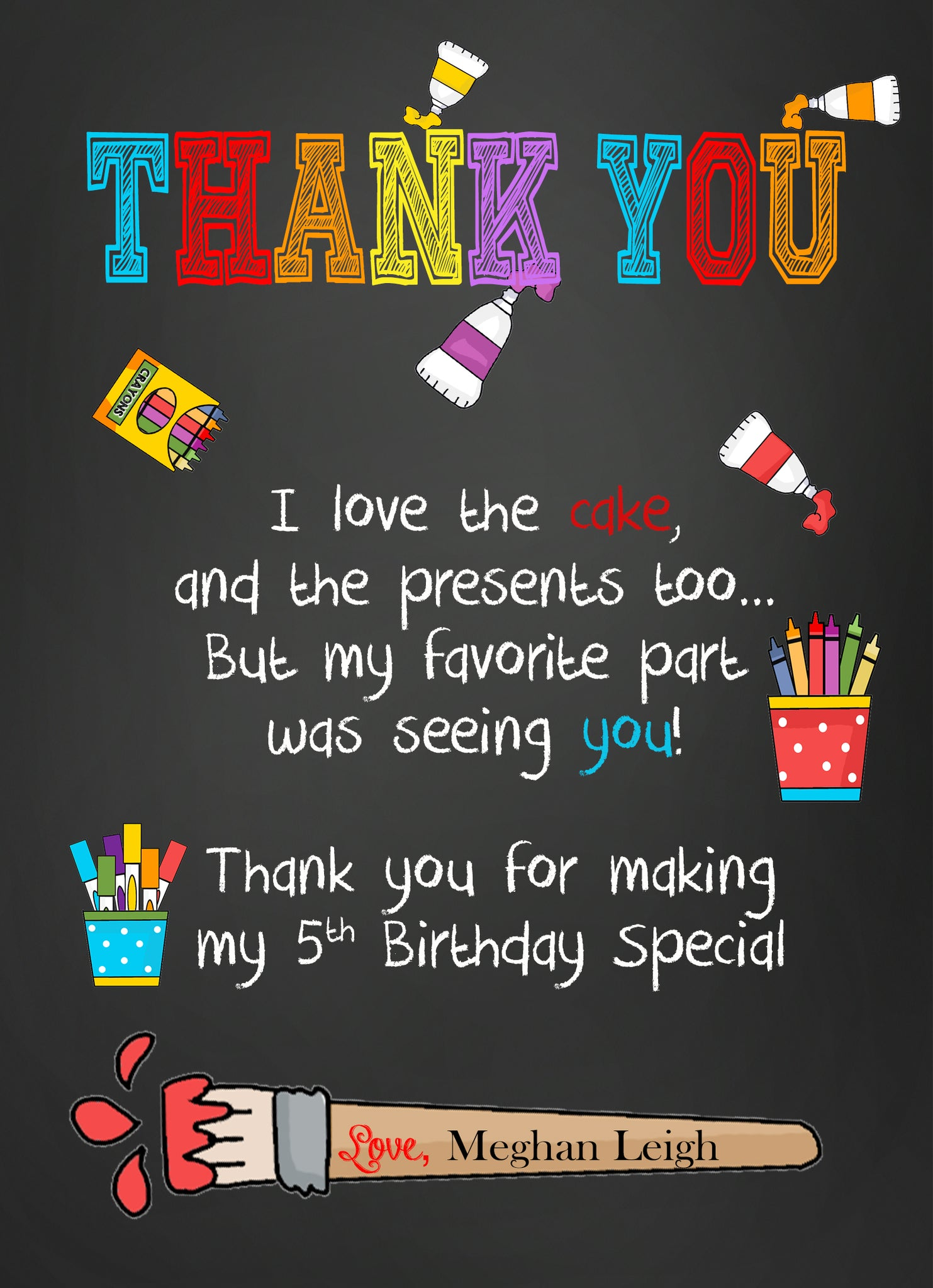 Art Paint Birthday Thank you Notes – Invitetique
