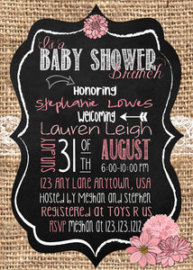 Brunch Baby Shower Burlap Pink Invitations - Invitetique