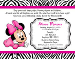 Minnie Mouse Zebra Baby Shower Invitations - Invitetique