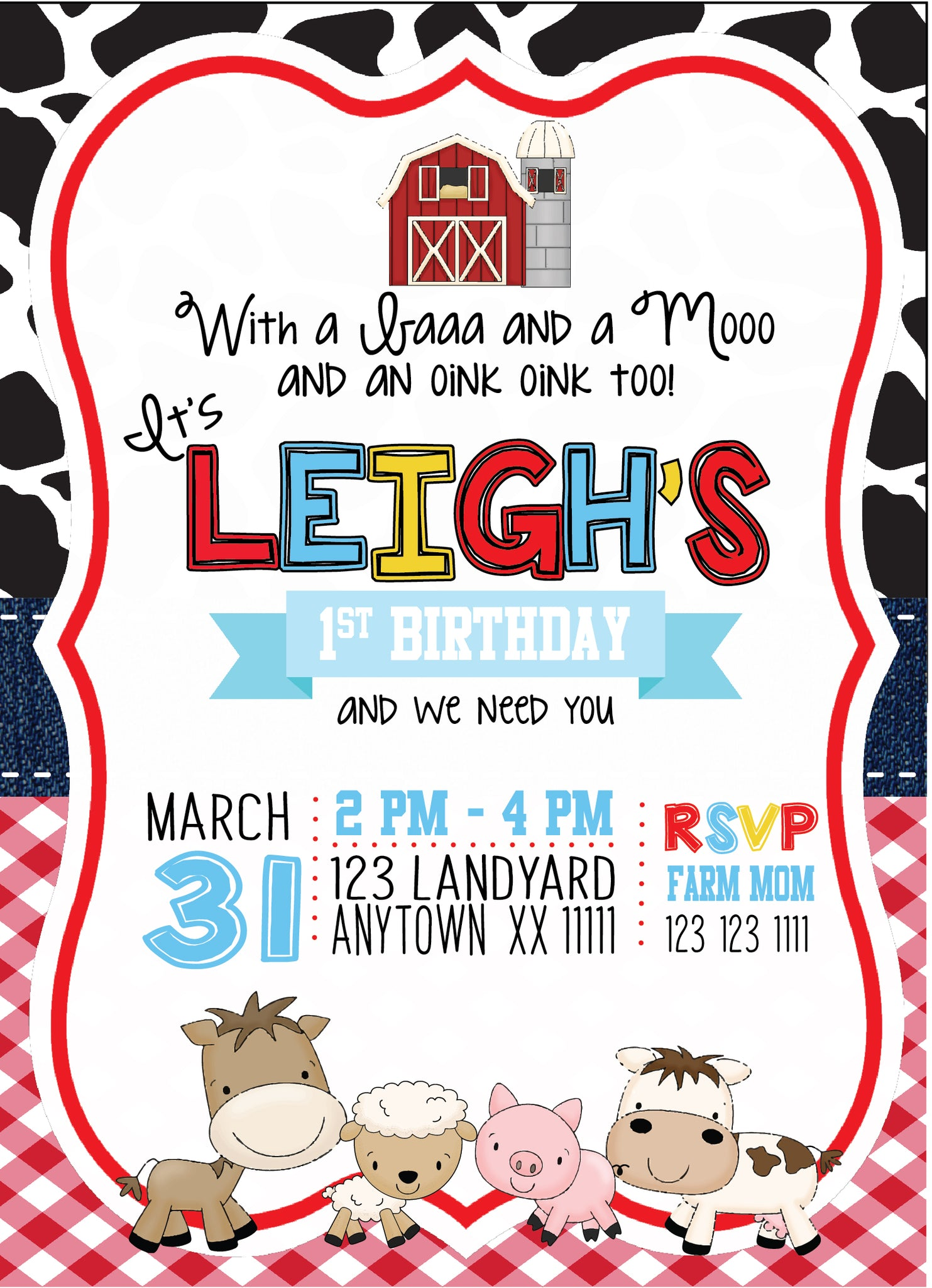 Barnyard Custom Birthday Invitations – Invitetique