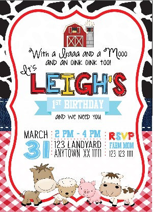 Barnyard Birthday Invitations - Digital - Invitetique