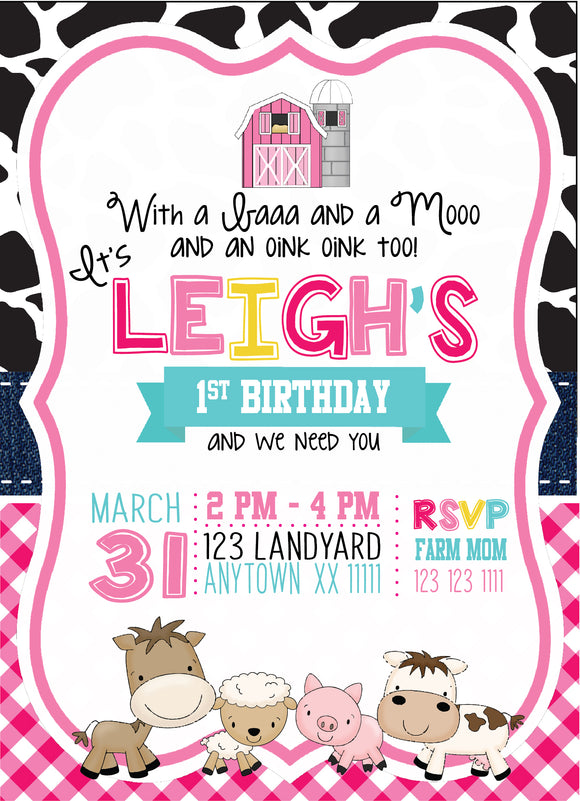 Pink Barnyard Birthday Invitations - Digital - Invitetique
