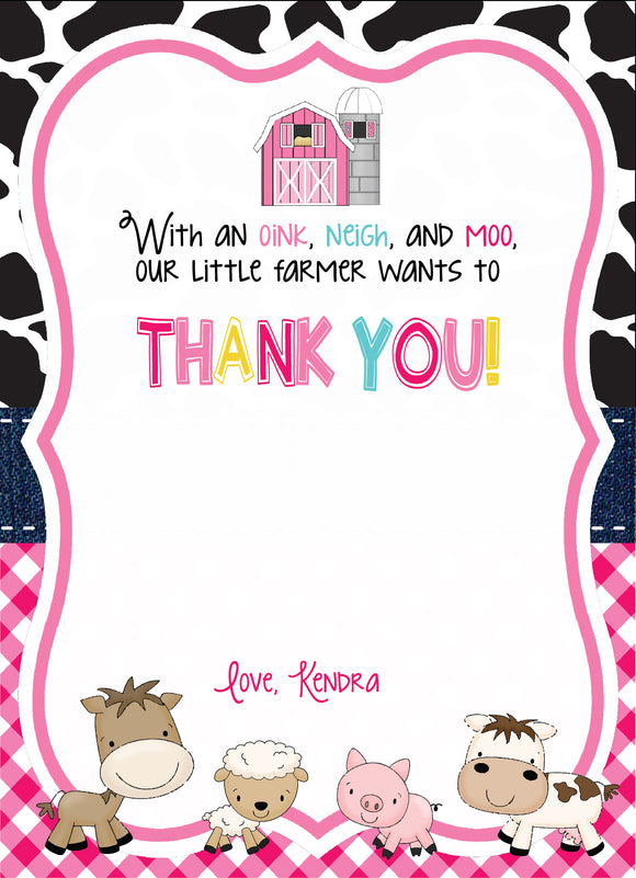 Barnyard Fill in Thank You card - Pink - Invitetique