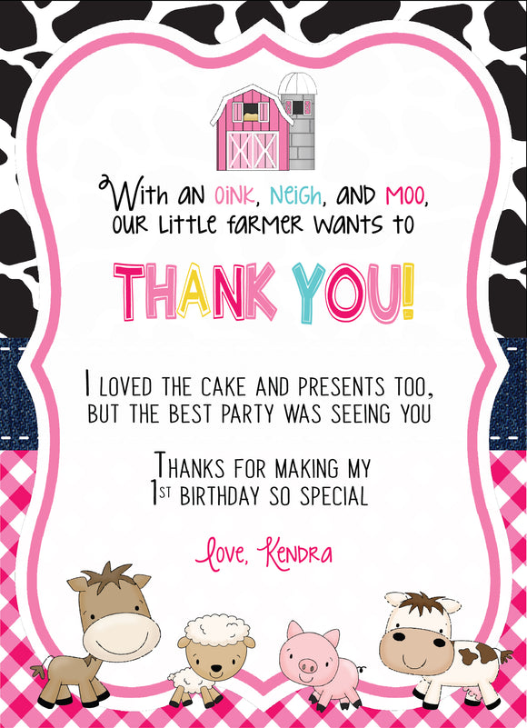 Barnyard Thank You card - Pink - Invitetique