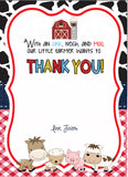 Barnyard Fill in the blank Thank You card - Red - Invitetique