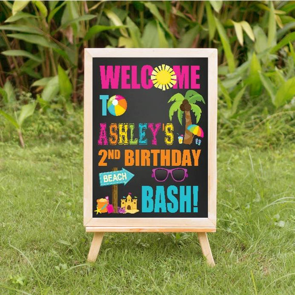 Beach bash birthday welcome sign