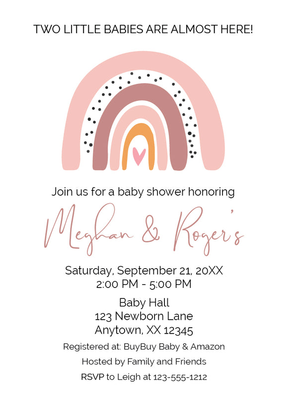 boho rainbow twin baby shower invitation