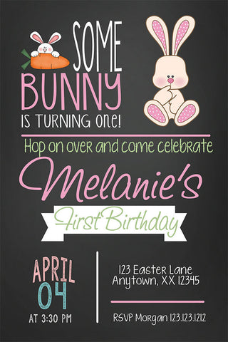 Bunny Birthday Party Invitation - Invitetique