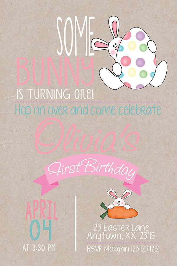 Egg Hunt Bunny  Birthday Invitation