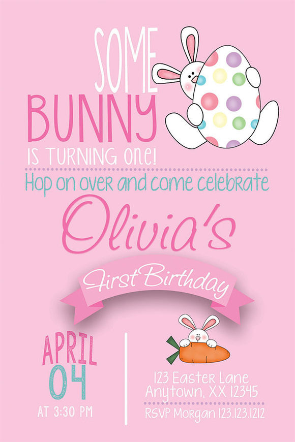 Egg Hunt Bunny Birthday Invitation (Pink) - Invitetique