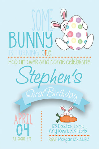 Egg Hunt Bunny Birthday Invitation - Blue - Invitetique