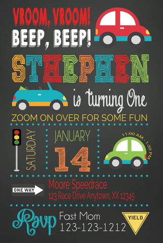 Cute cars transportation birthday boy party personalized invitations