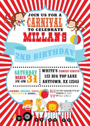 Carnival Theme Party Invitation - We print - Invitetique