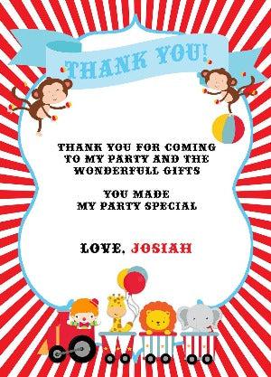 Carnival Theme Thank you notes