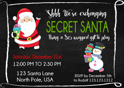 Secret Santa Christmas Party Invitations