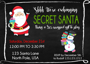 Secret Santa Christmas Party Invitations - Invitetique